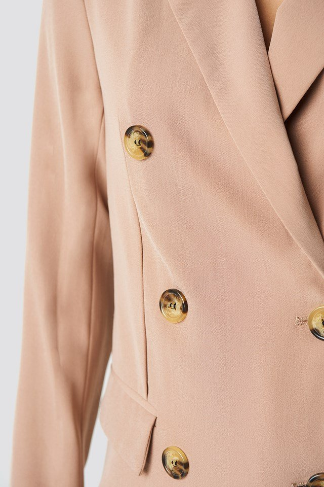 Contrast Buttons Blazer Beige