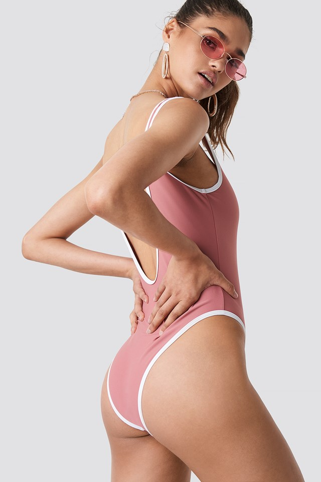 Contrast Edge Swimsuit Dusty Rose
