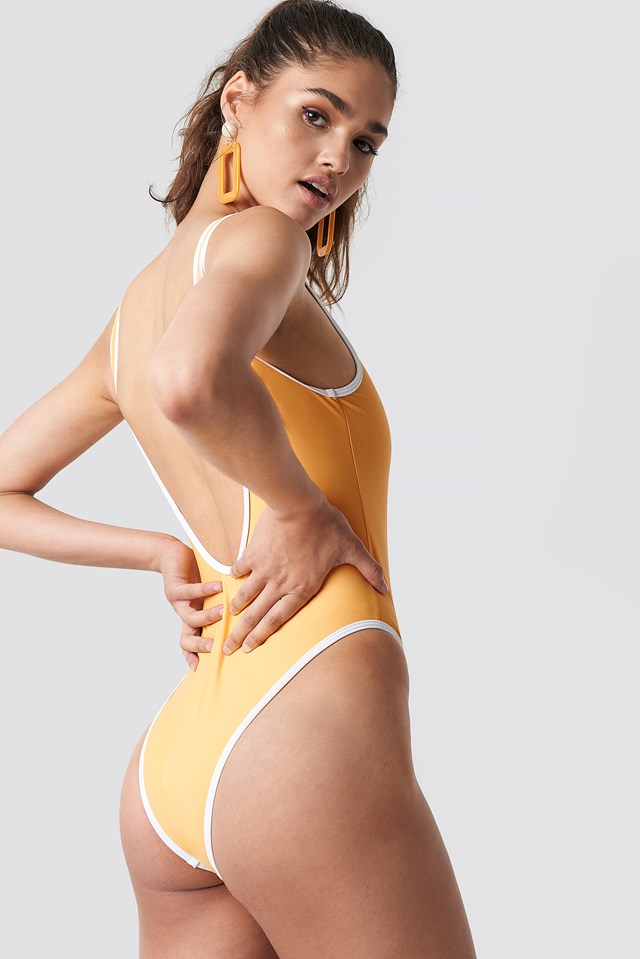 Contrast Edge Swimsuit Sun Yellow