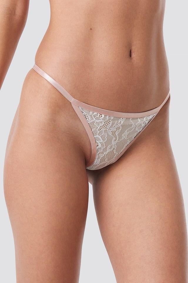 Contrast Elastic Lace Panty Beige