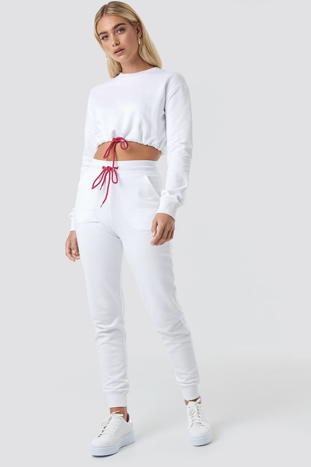 Contrast Neon Drawcord Slim Joggers White