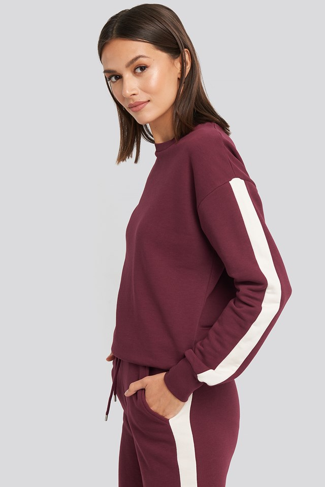 Contrast Panel Sweatshirt Burgundy