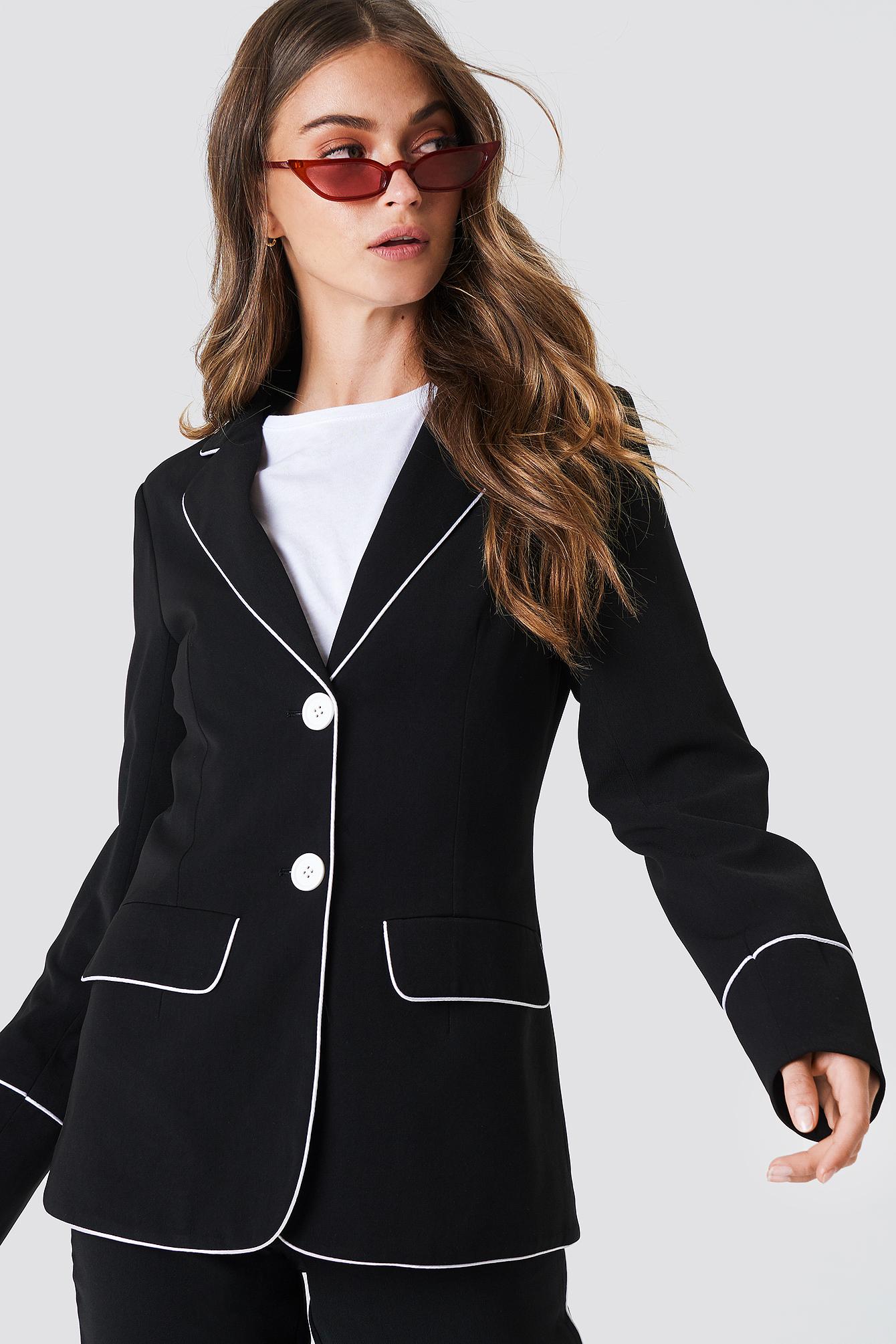 na-kd trend -  Contrast Piping Blazer - Black