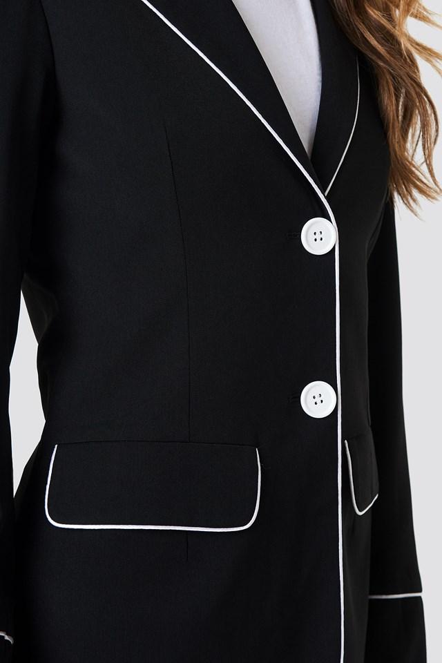 Contrast Piping Blazer Black