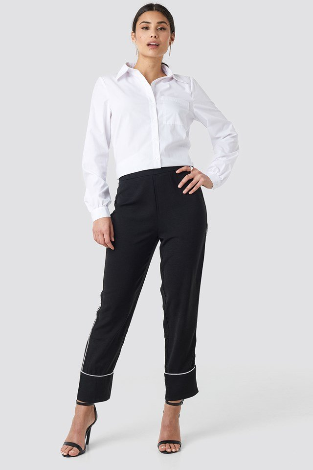 Contrast Piping Suit Pants Black