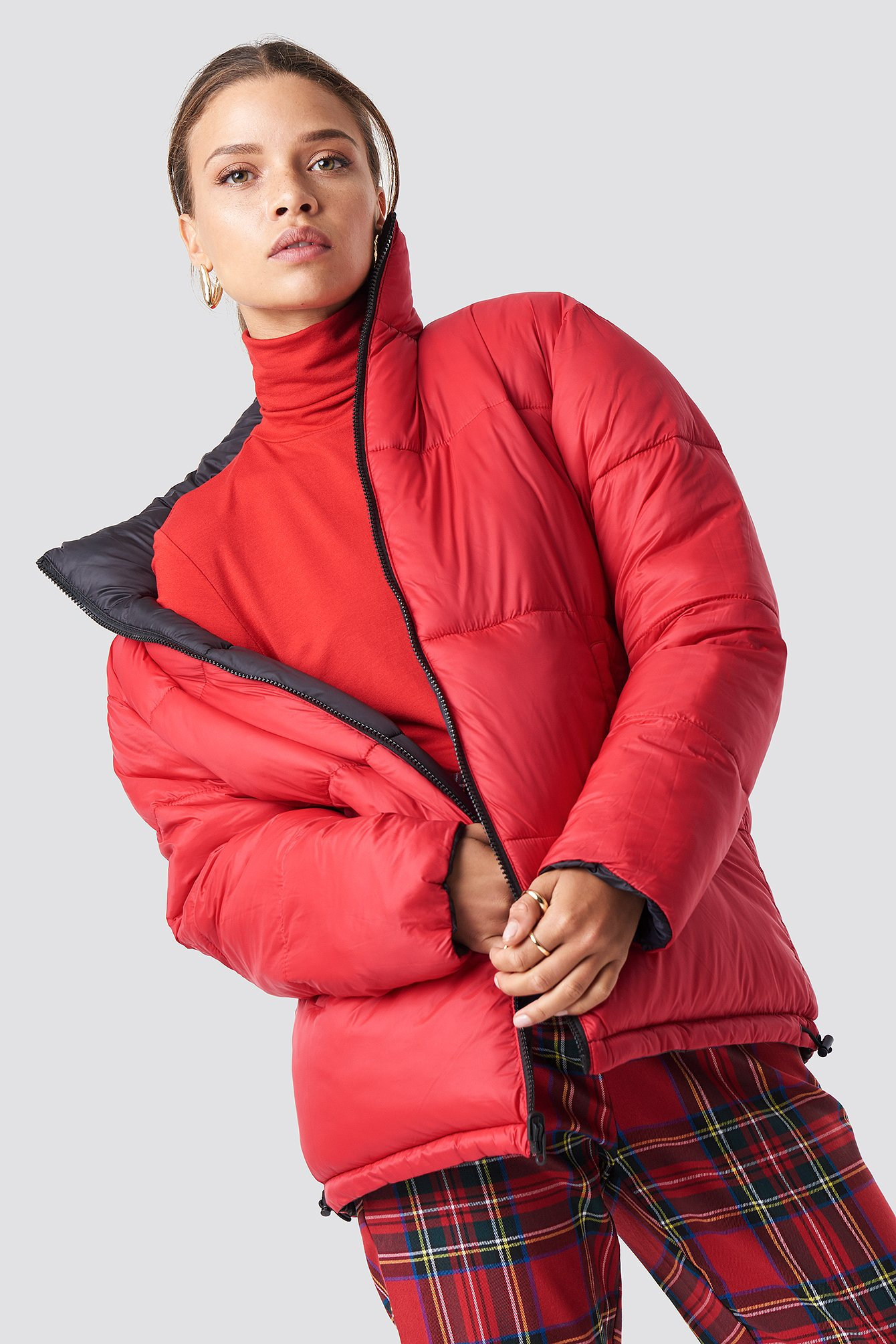 na-kd trend -  Contrast Puffer Jacket - Black,Red