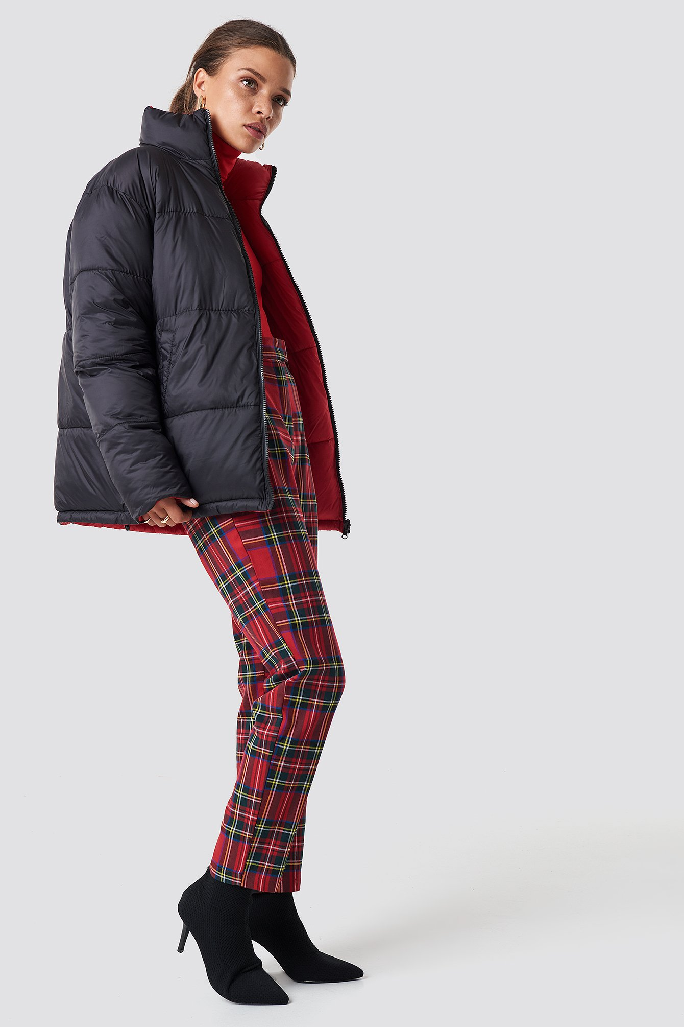 Black/Red Contrast Puffer Jacket