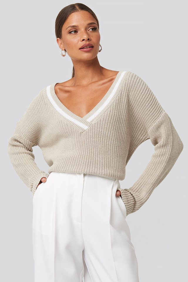 Contrast Rib V-Neck Sweater Beige