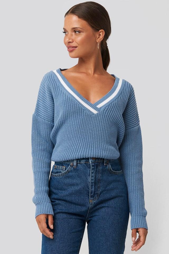 Contrast Rib V-Neck Sweater Stone Wash