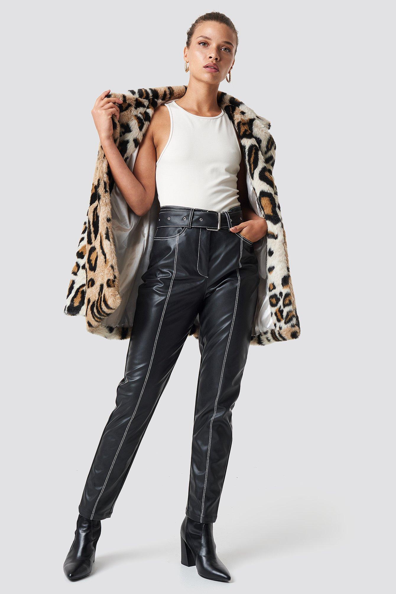 NA-KD Trend Contrast Seam Belted PU Pants - Black