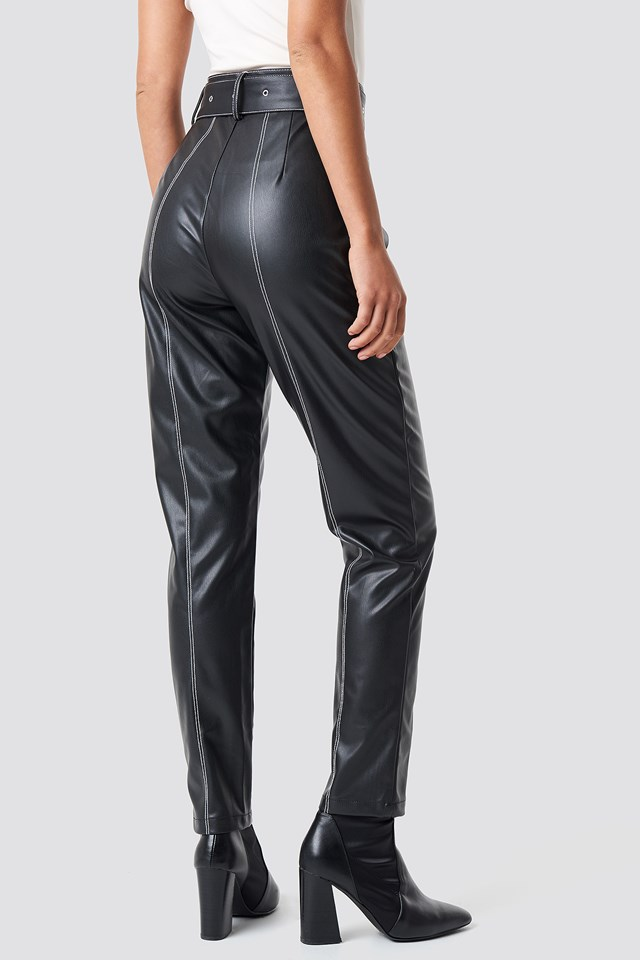 Contrast Seam Belted PU Pants Black