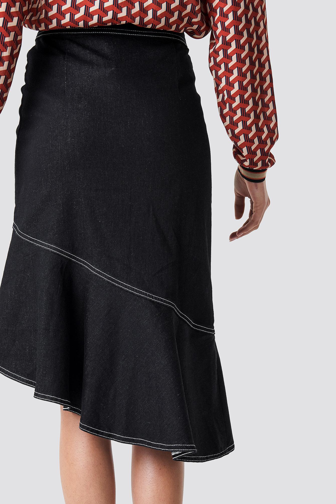 Contrast Seam Denim Flounce Skirt NA-KD.COM