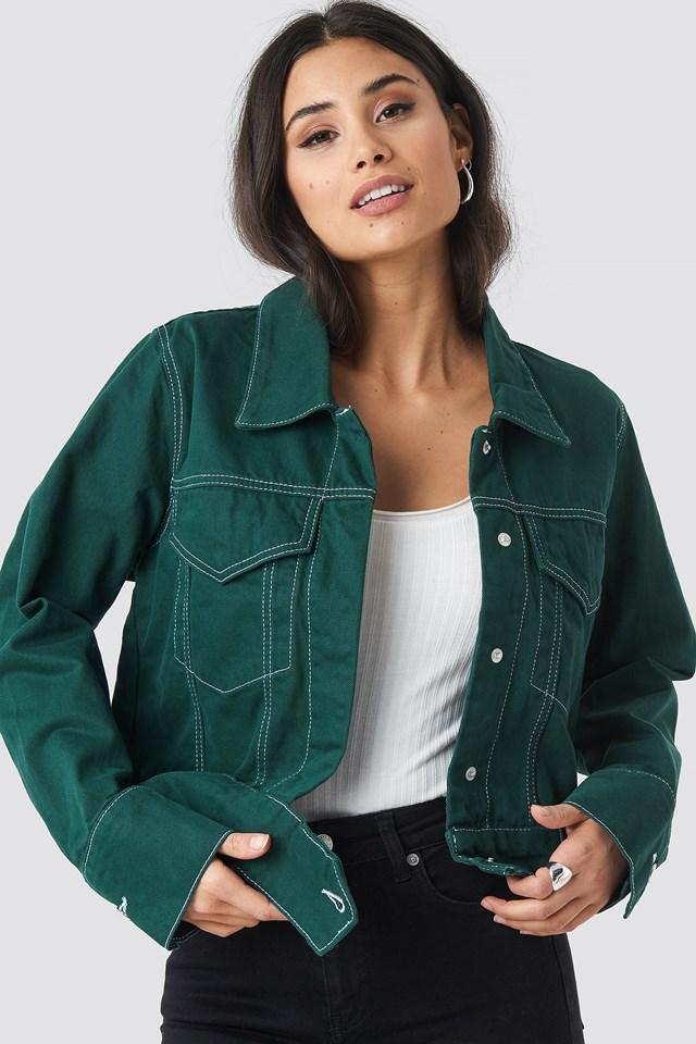Contrast Seam Denim Jacket Green