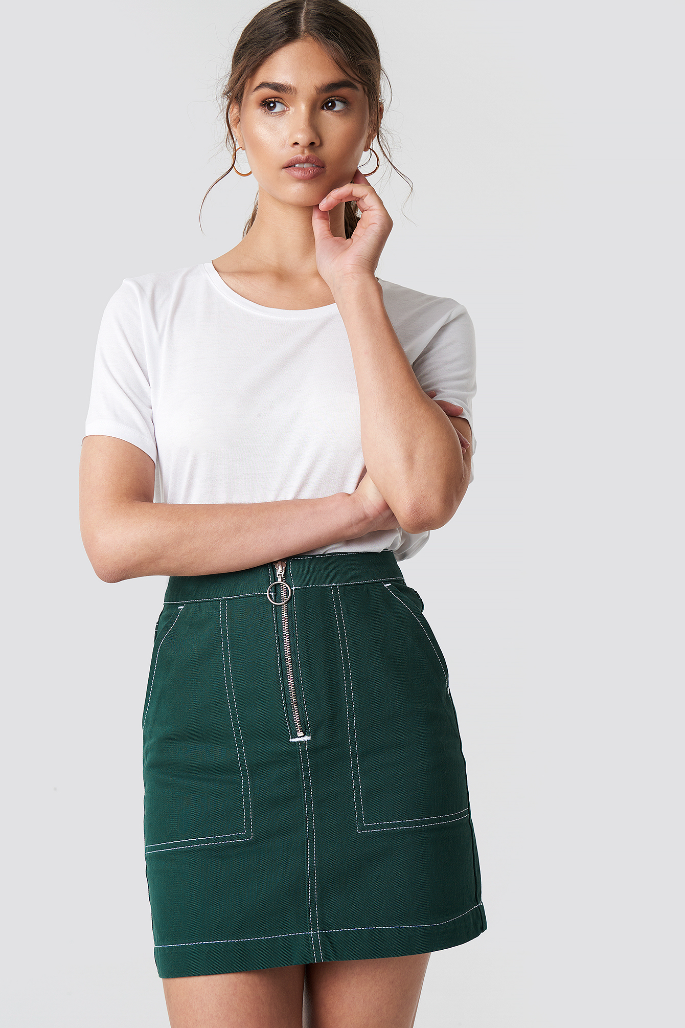 Contrast Seam Denim Skirt NA-KD.COM
