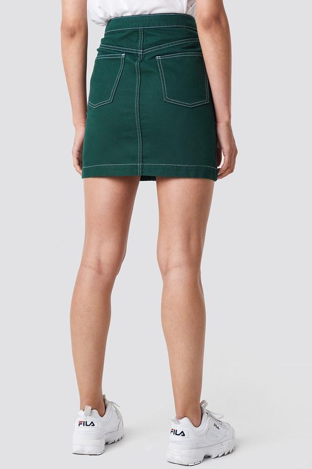 Contrast Seam Denim Skirt Green
