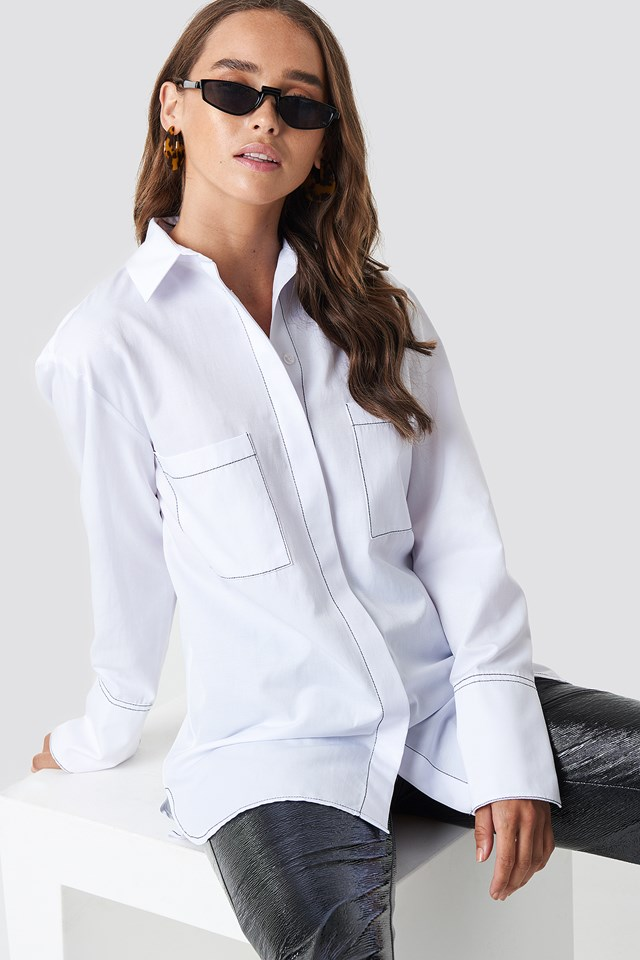 Contrast Seam Detail Shirt White