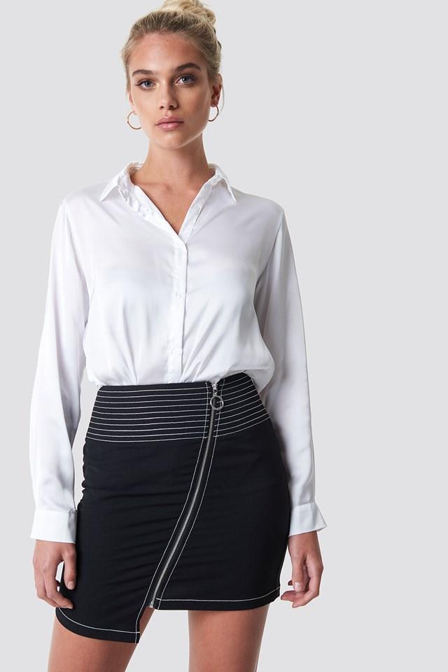 Contrast Seam Front Zipper Skirt Black