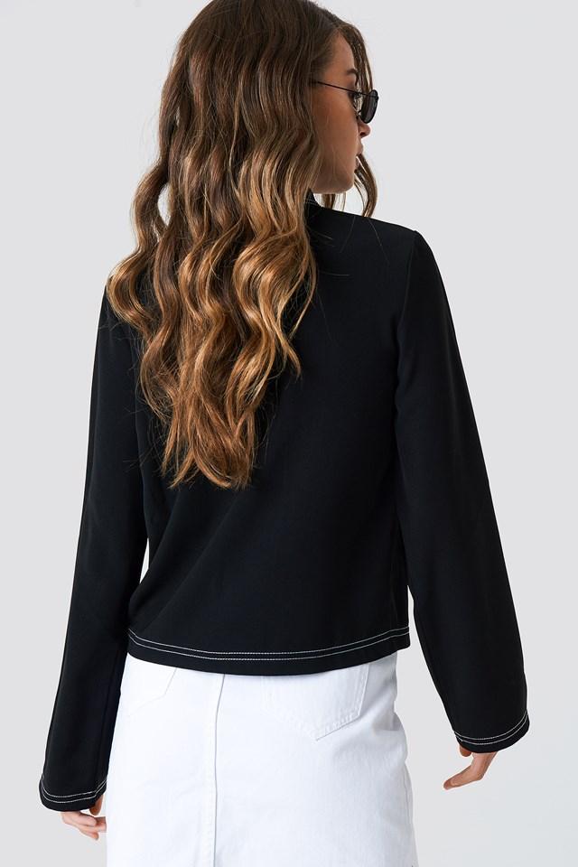 Contrast Seam Front Zipper Top Black