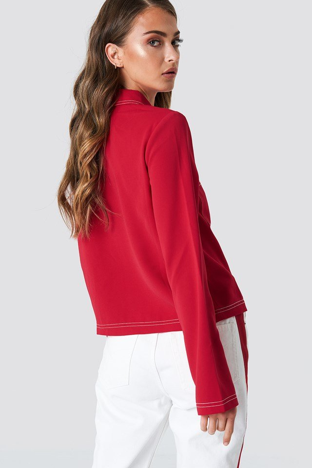 Contrast Seam Front Zipper Top Red