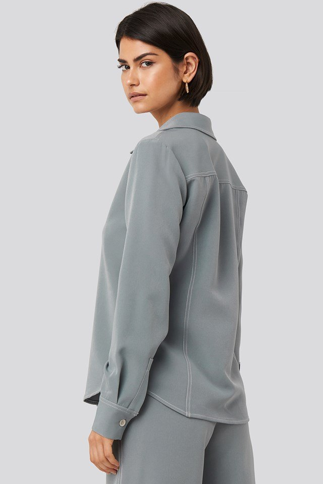 Contrast Seam Overshirt Dusty Blue