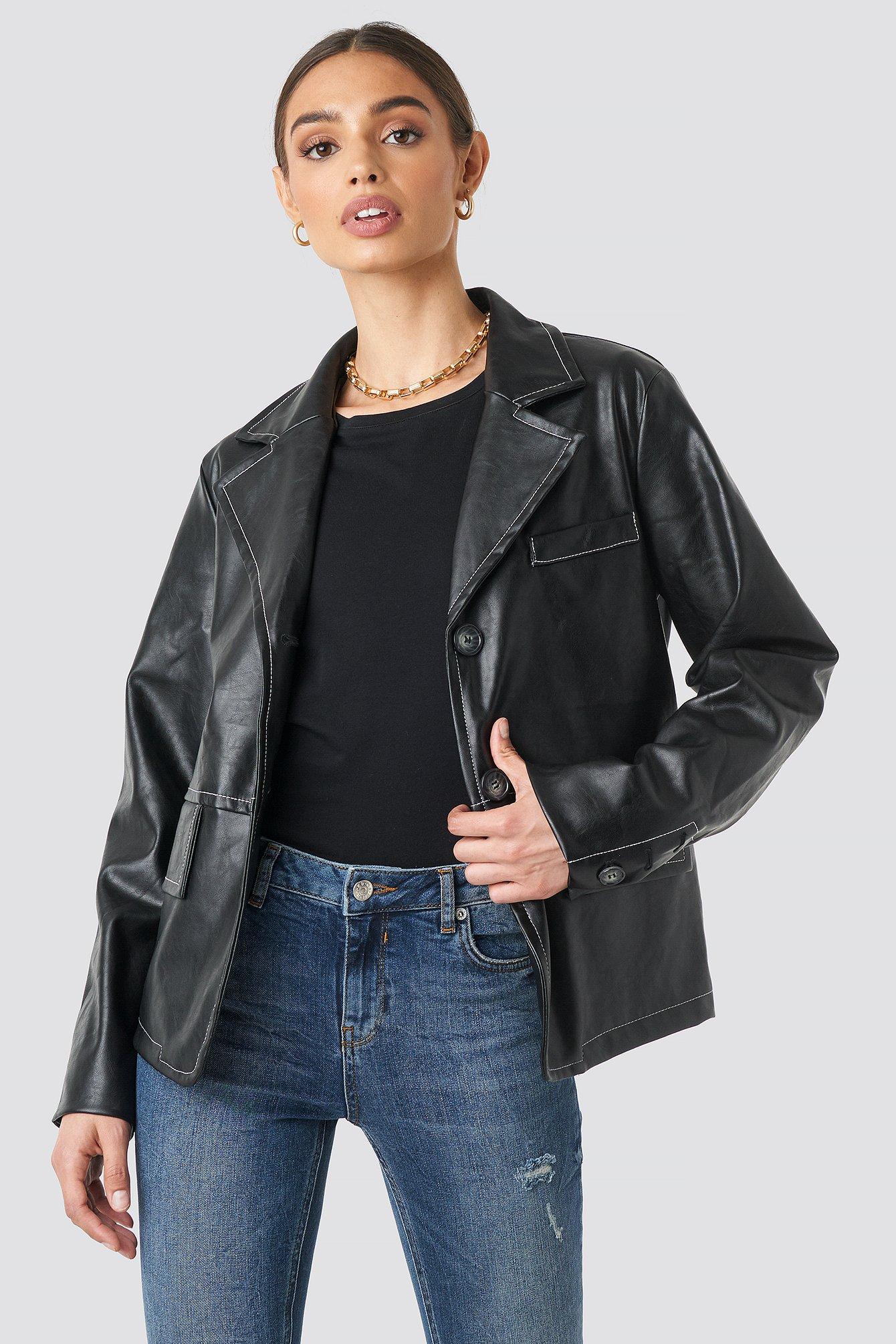 na-kd trend -  Contrast Seam PU Jacket - Black