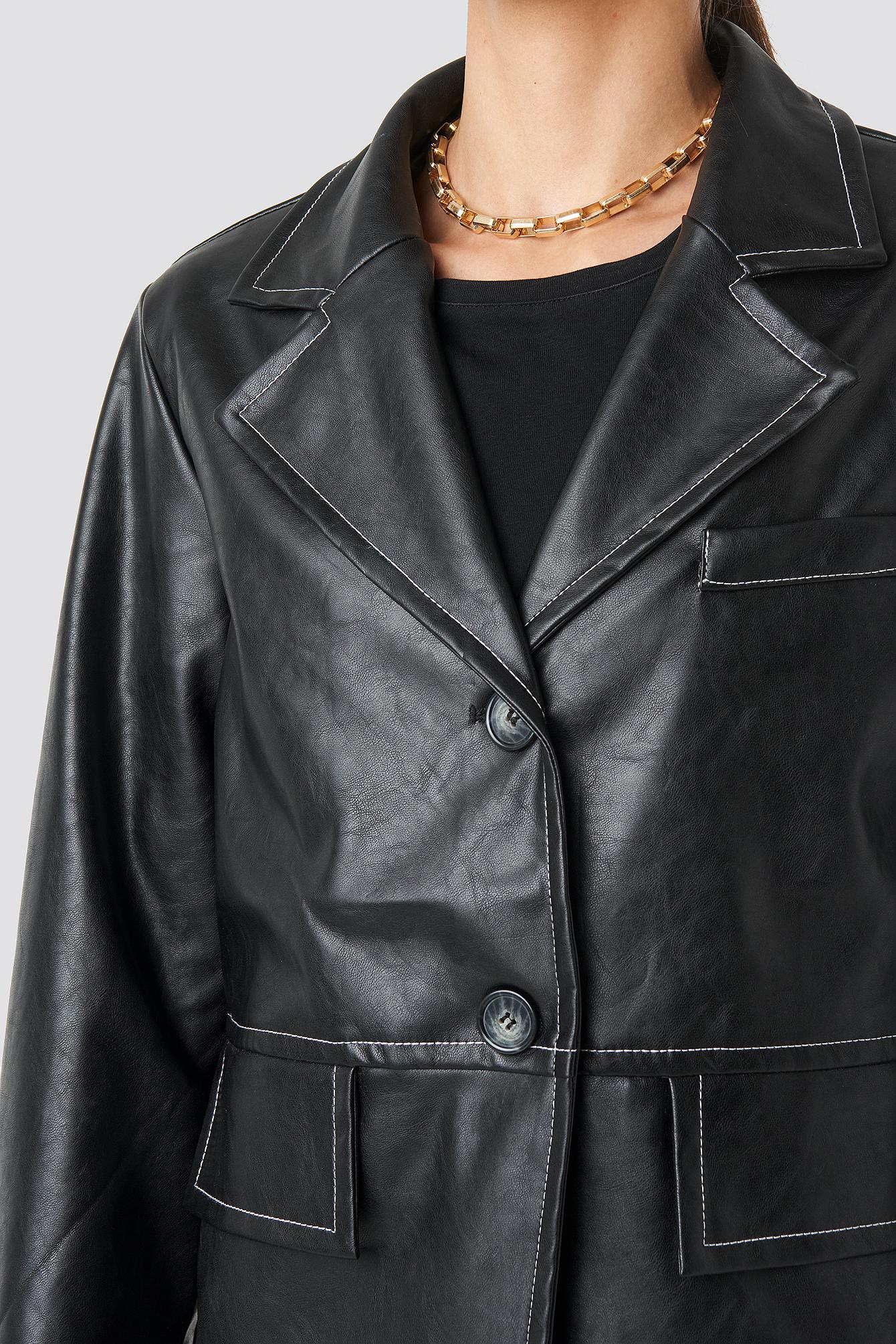 Contrast Seam PU Jacket NA-KD.COM