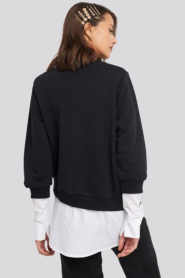 Contrast Shirt Hem Sweater Black
