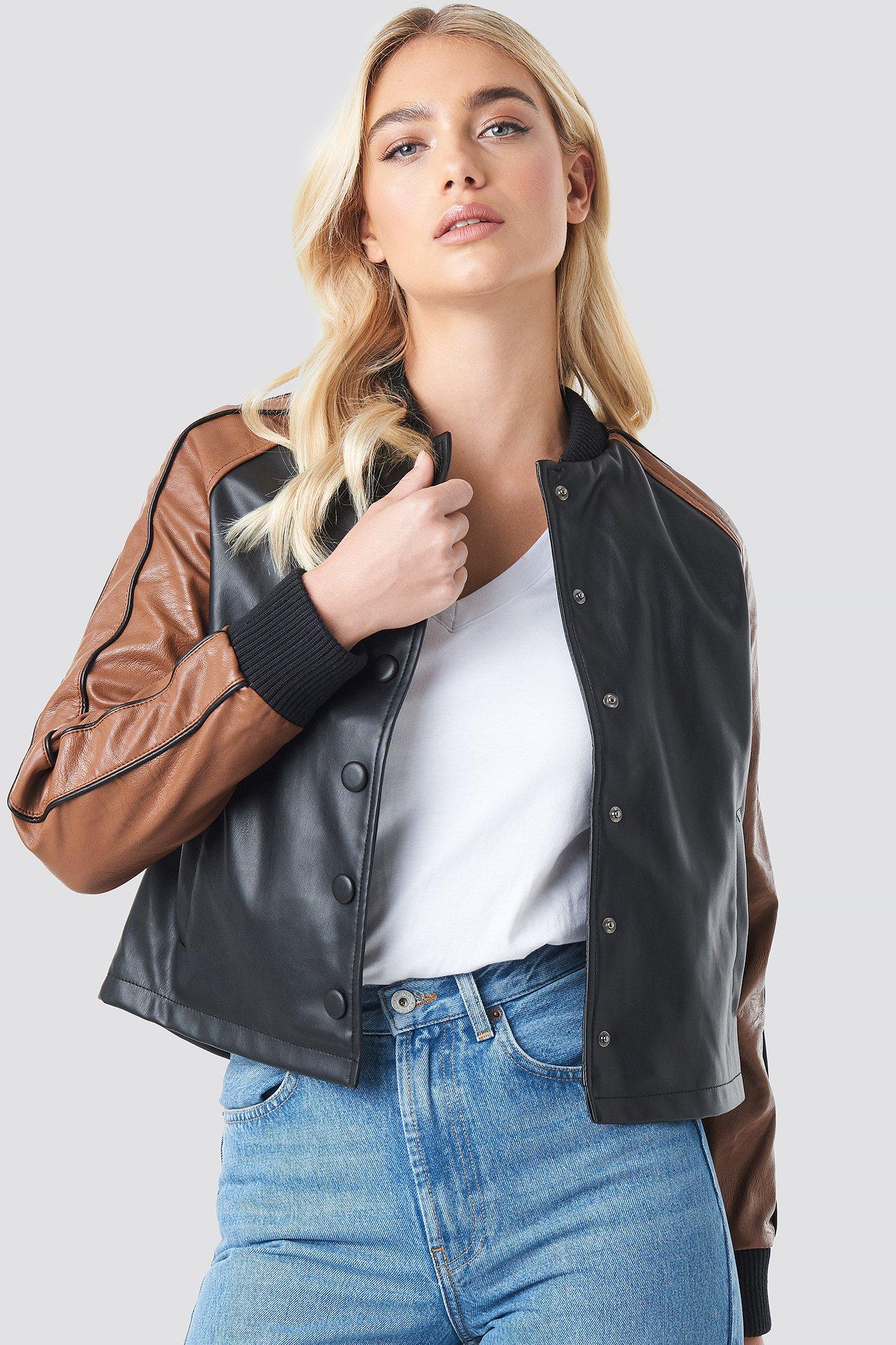 na-kd -  Contrast Sleeve PU Jacket - Black