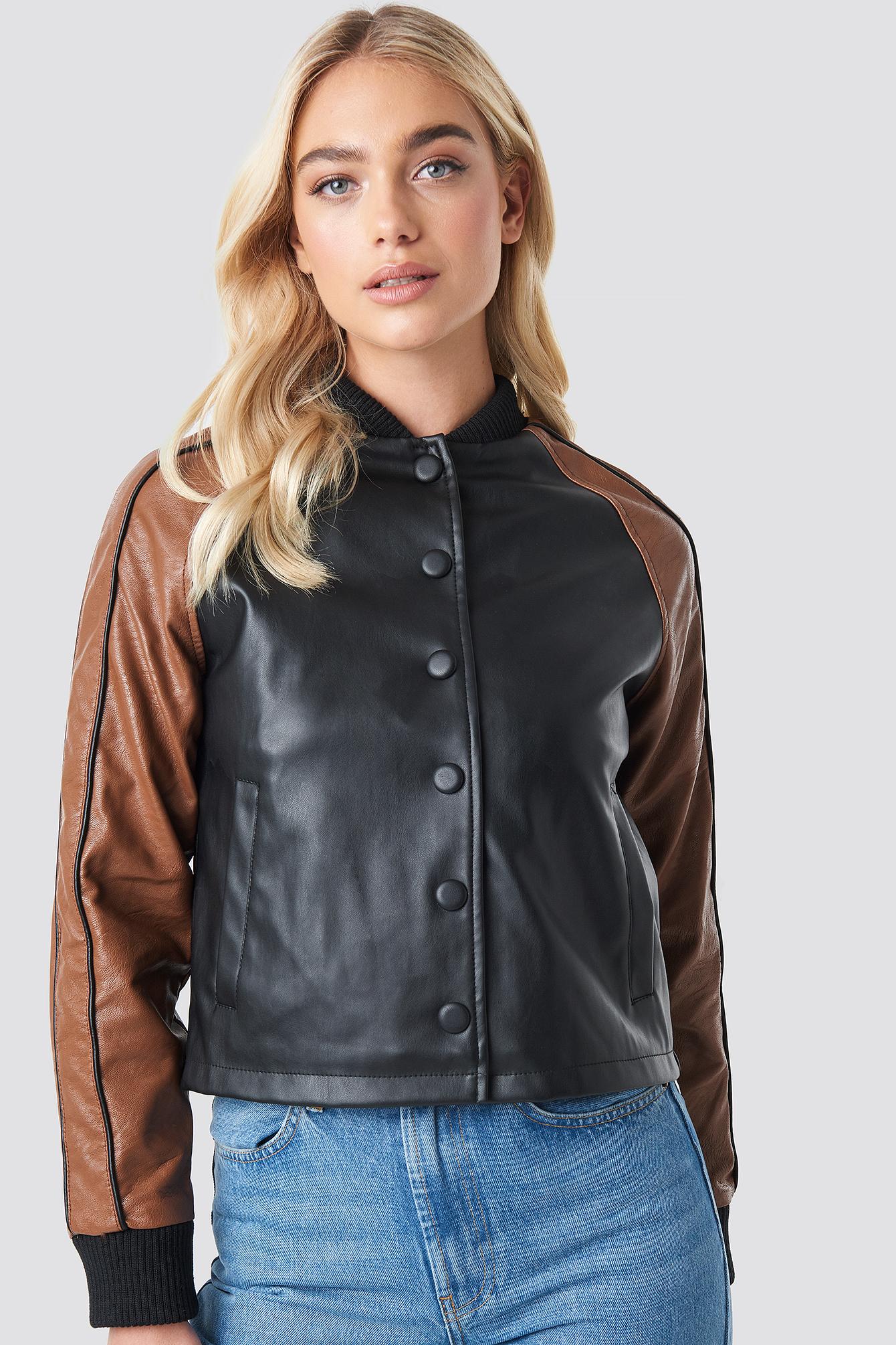 Contrast Sleeve PU Jacket NA-KD.COM
