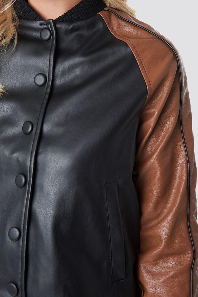 Contrast Sleeve PU Jacket Black