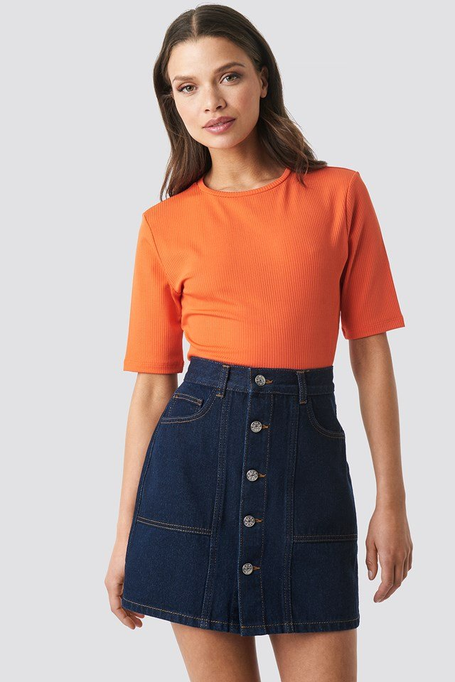 Contrast Stitch Button Up Mini Skirt Indigo