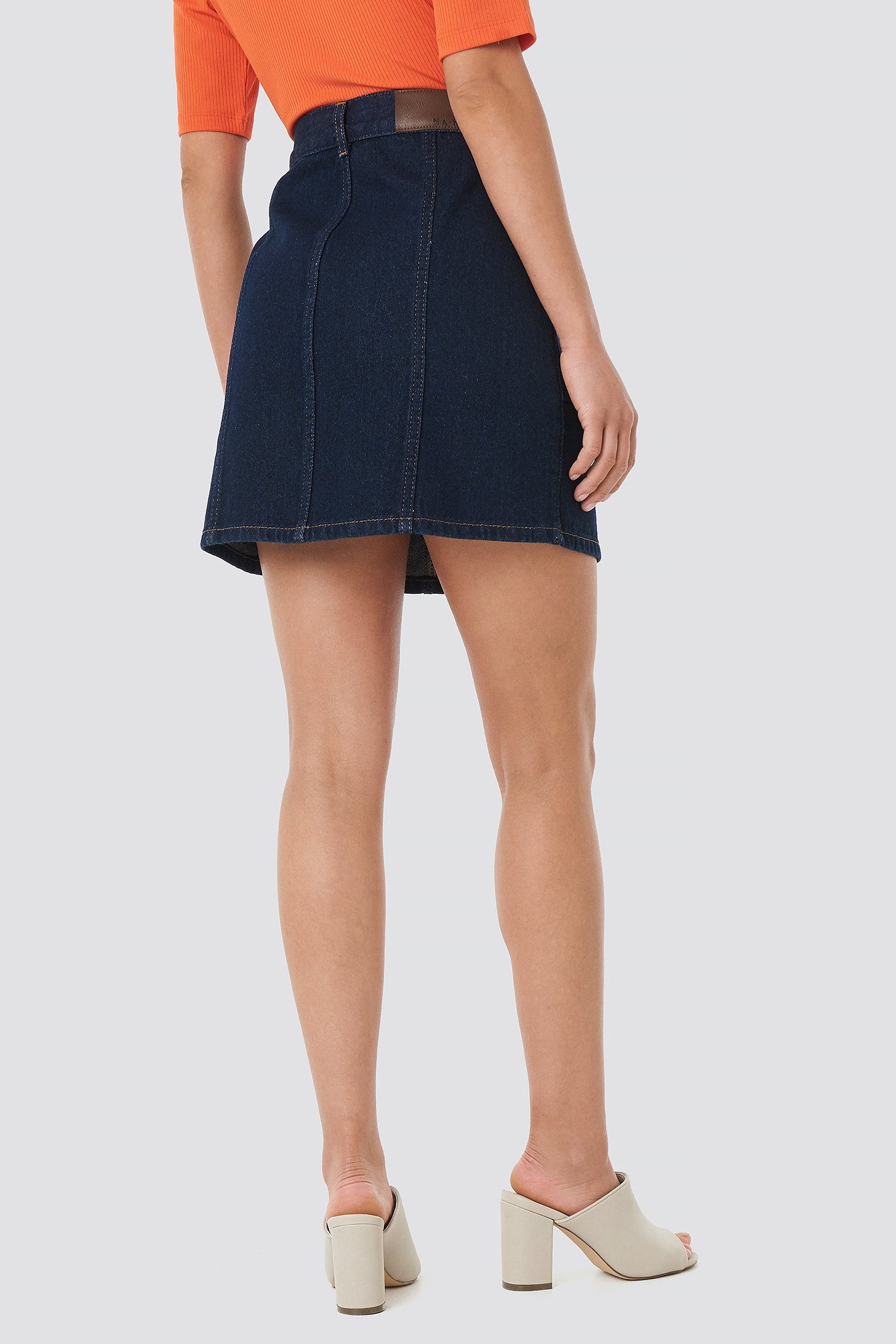 Contrast Stitch Button Up Mini Skirt NA-KD.COM