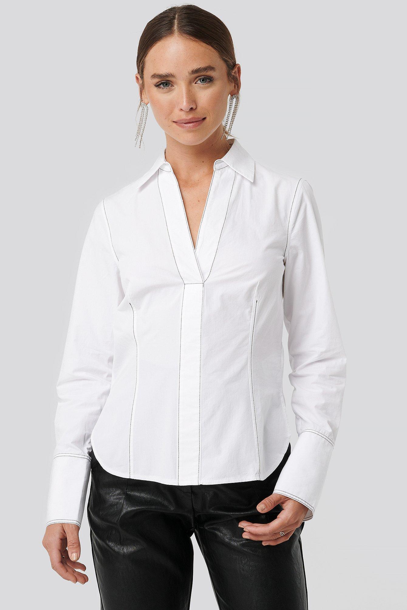 NA-KD Skjorte Med Sting - White