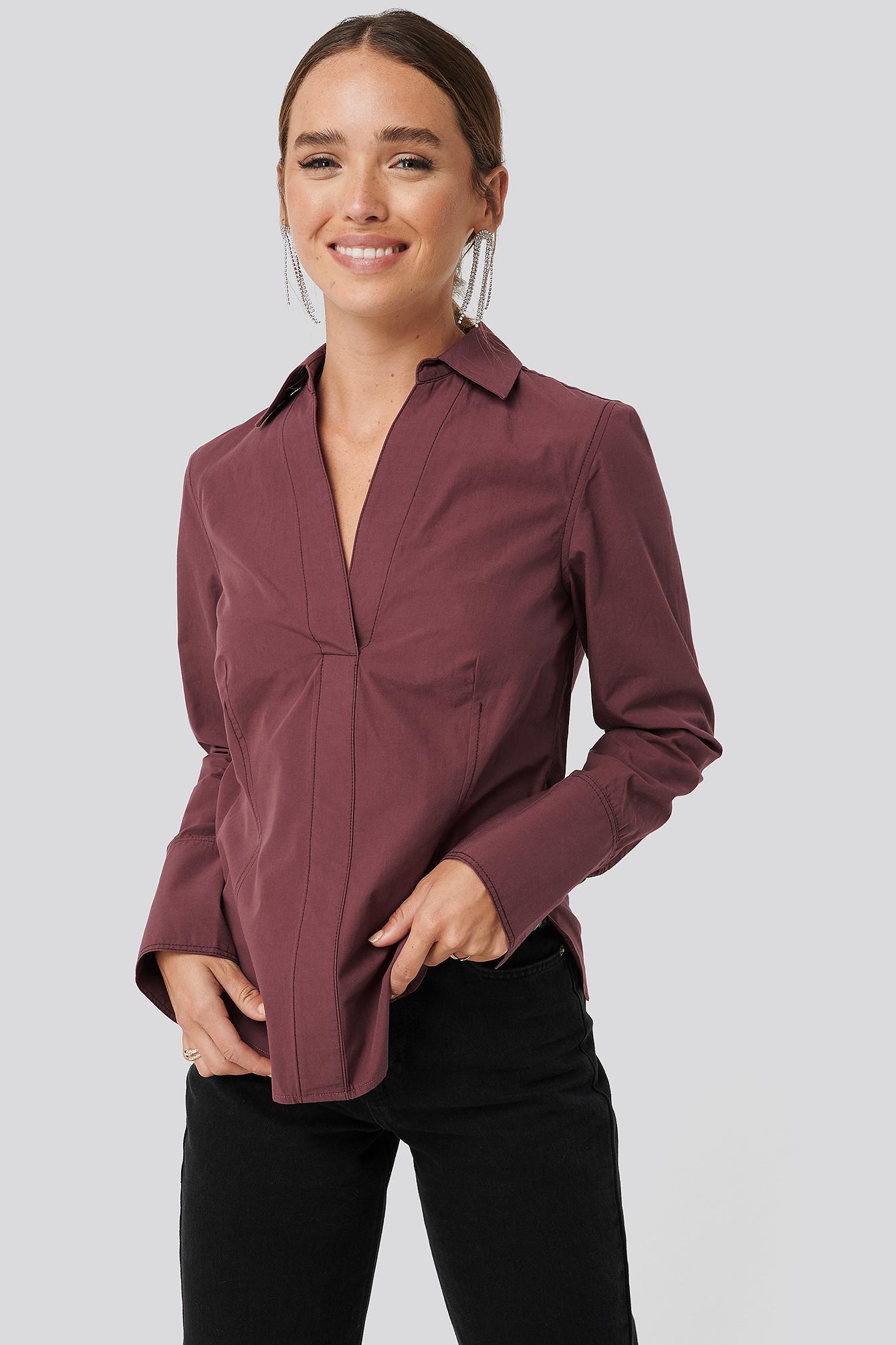 NA-KD Skjorte Med Sting - Burgundy