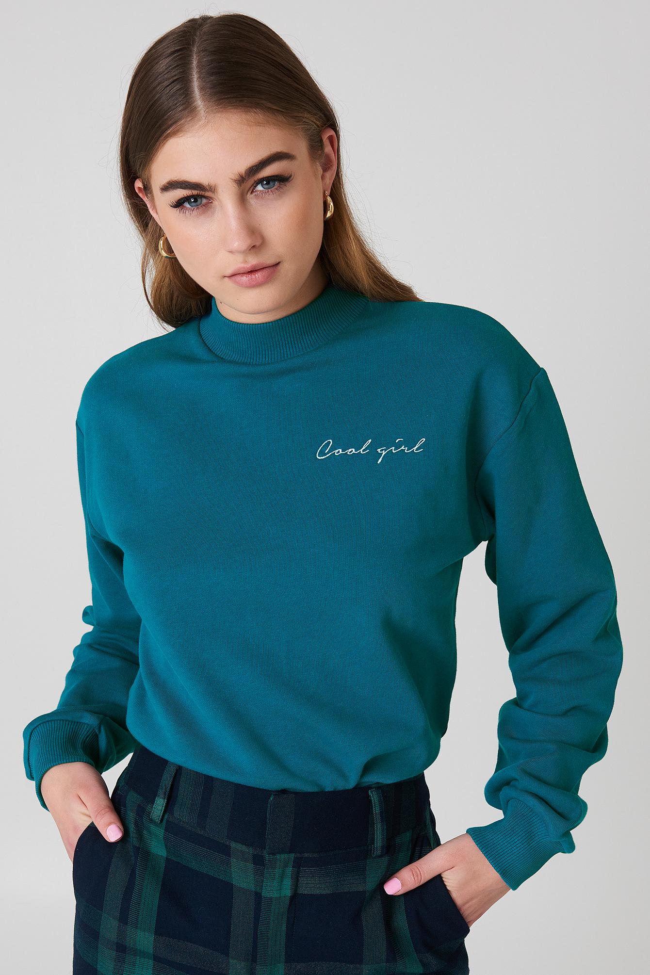 na-kd -  Cool Girl Sweatshirt - Green,Turquoise