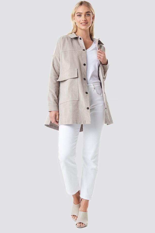 Corduroy Overshirt Jacket Gray