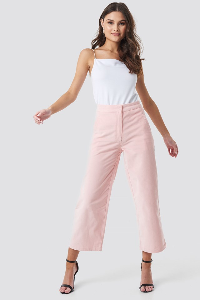 Corduroy Cropped Straight Trousers Rose Quartz