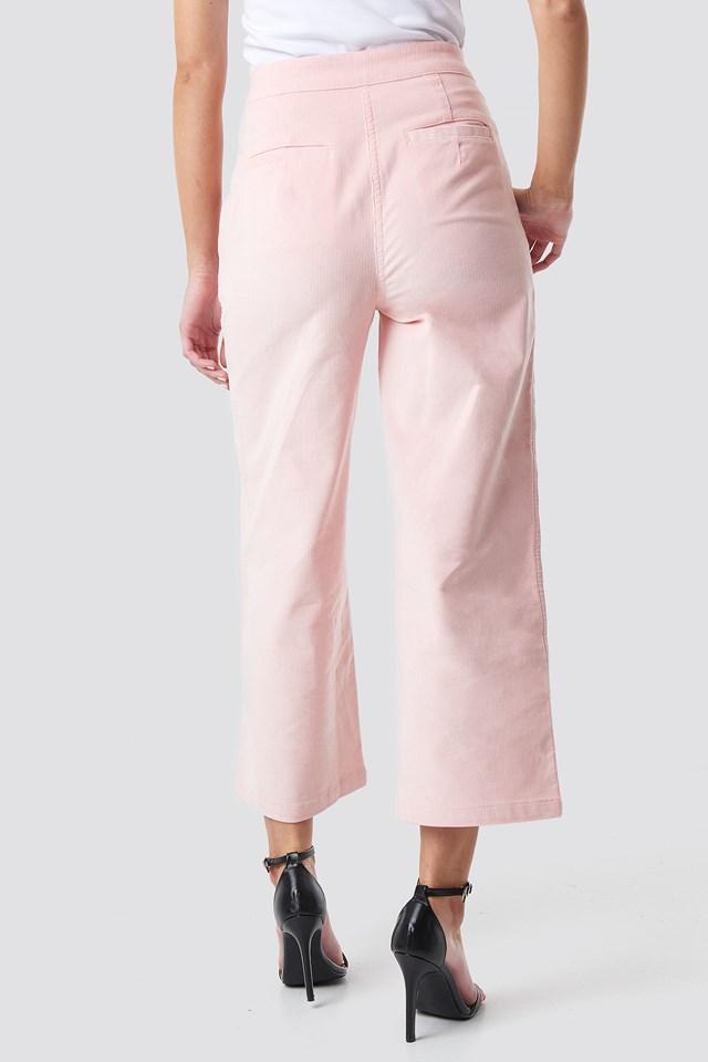 Corduroy Cropped Straight Trousers Rose Quartz