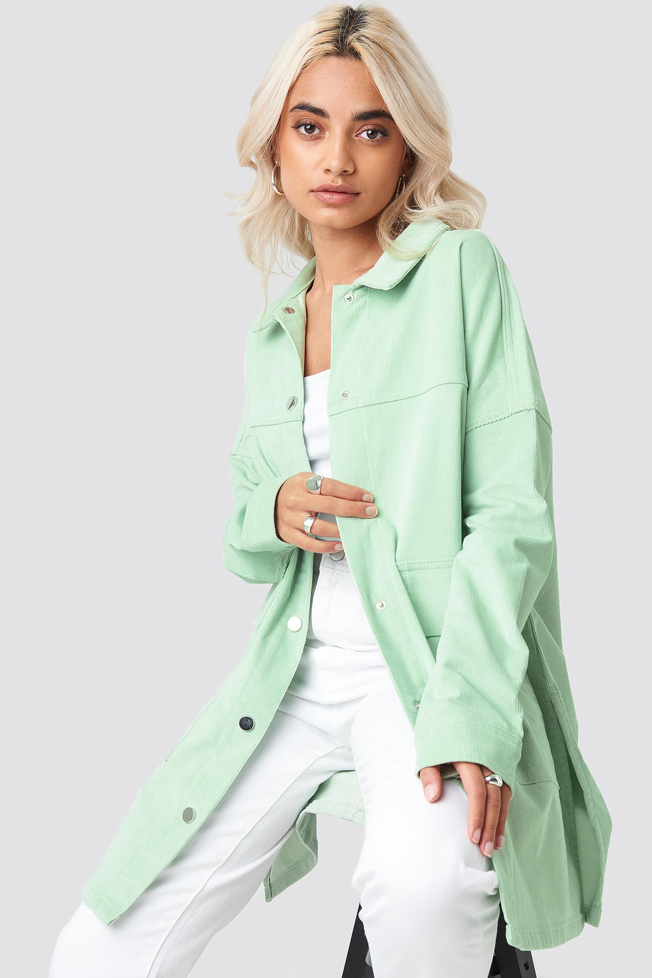 na-kd -  Corduroy Overshirt Jacket - Green