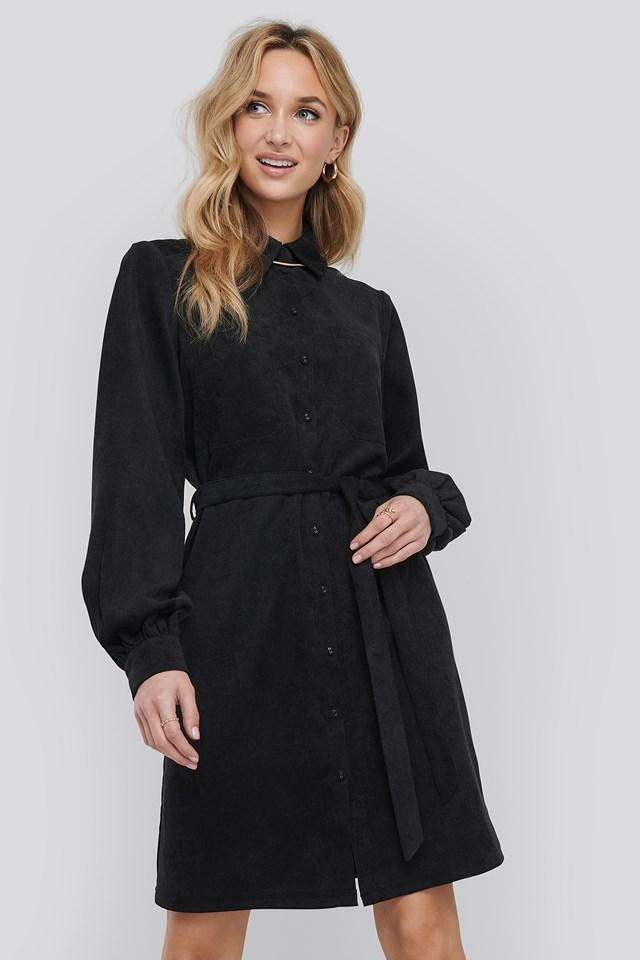 Corduroy Tied Waist Shirt Dress Black