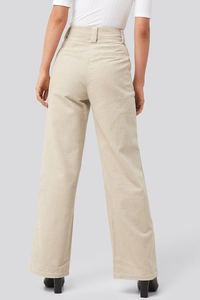 Corduroy Wide Leg Suit Pants Sand
