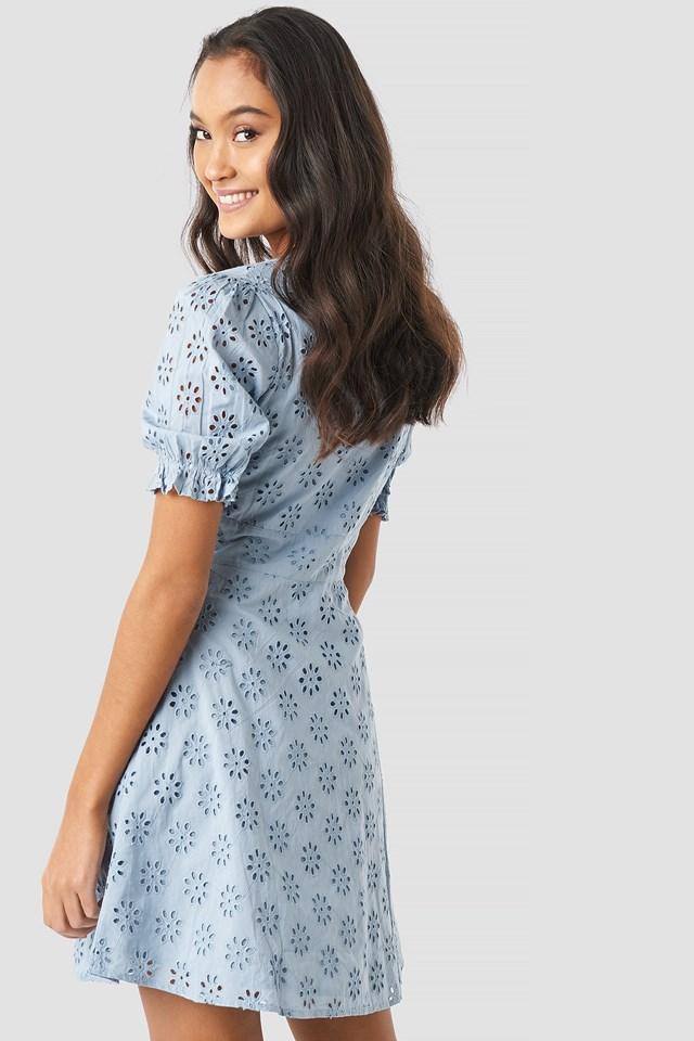 Cotton Anglaise Mini Dress NA-KD.COM