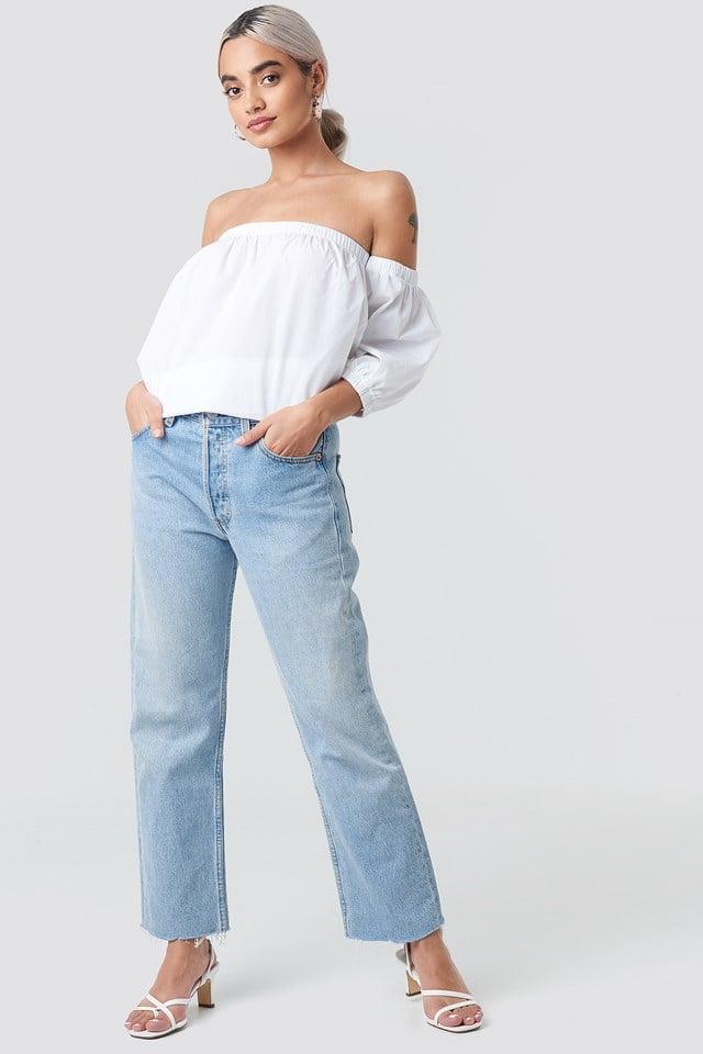 Cotton Bardot Puff Sleeve Top White