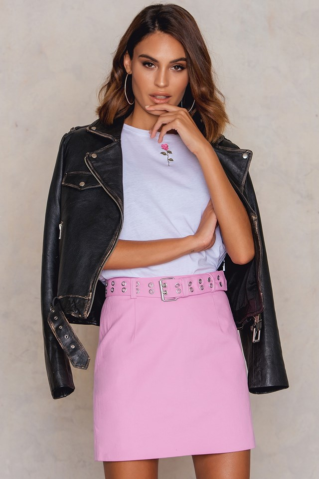 Cotton Belted Skirt Pink