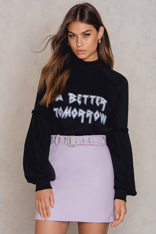 Cotton Belted Skirt Light Purple