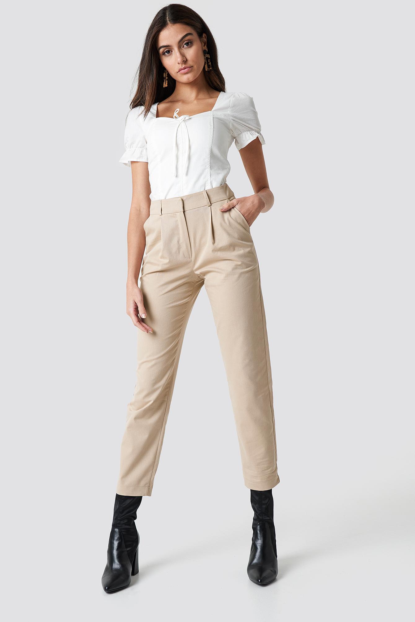 COTTON BLEND SUIT PANTS - BEIGE