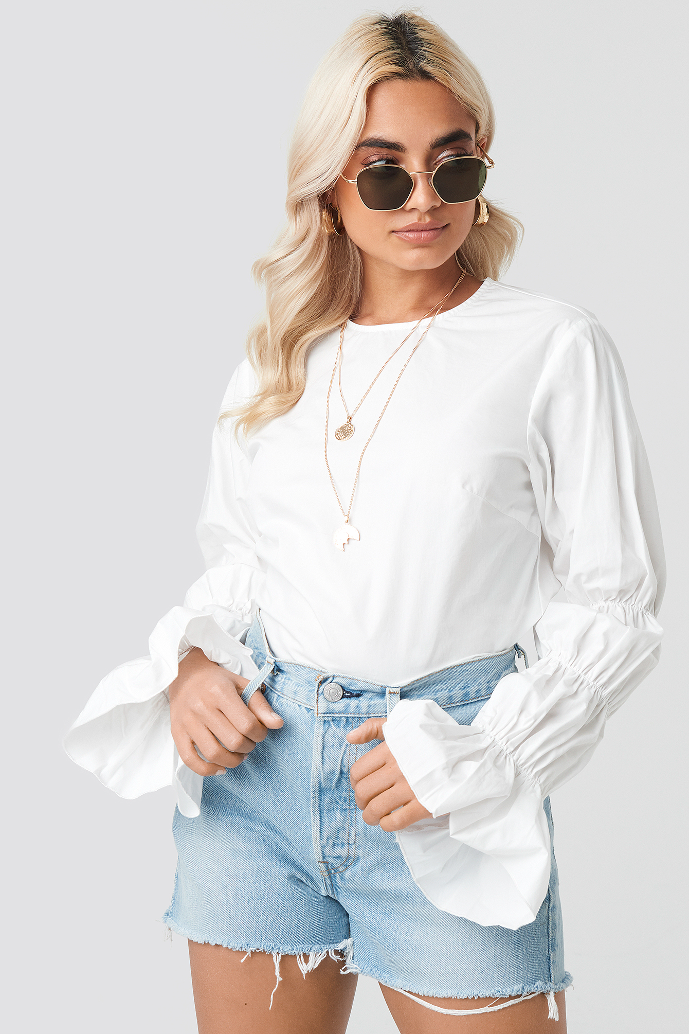 Cotton Gathered Sleeve Blouse NA-KD.COM