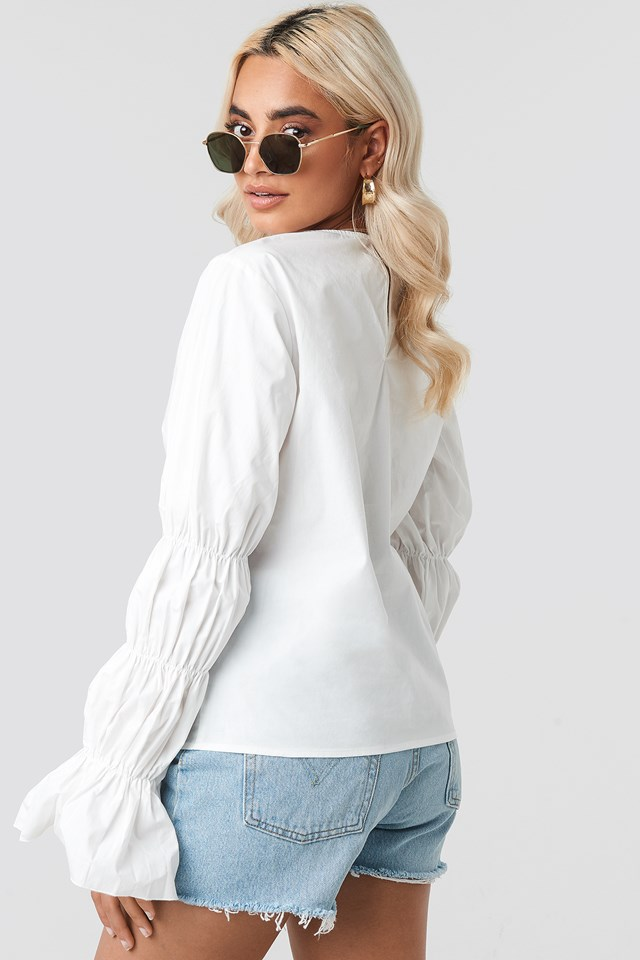 Cotton Gathered Sleeve Blouse White