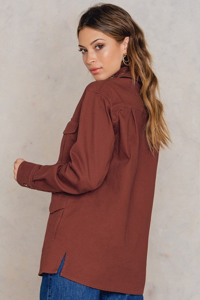 Cotton Shirt Jacket Rustic Red