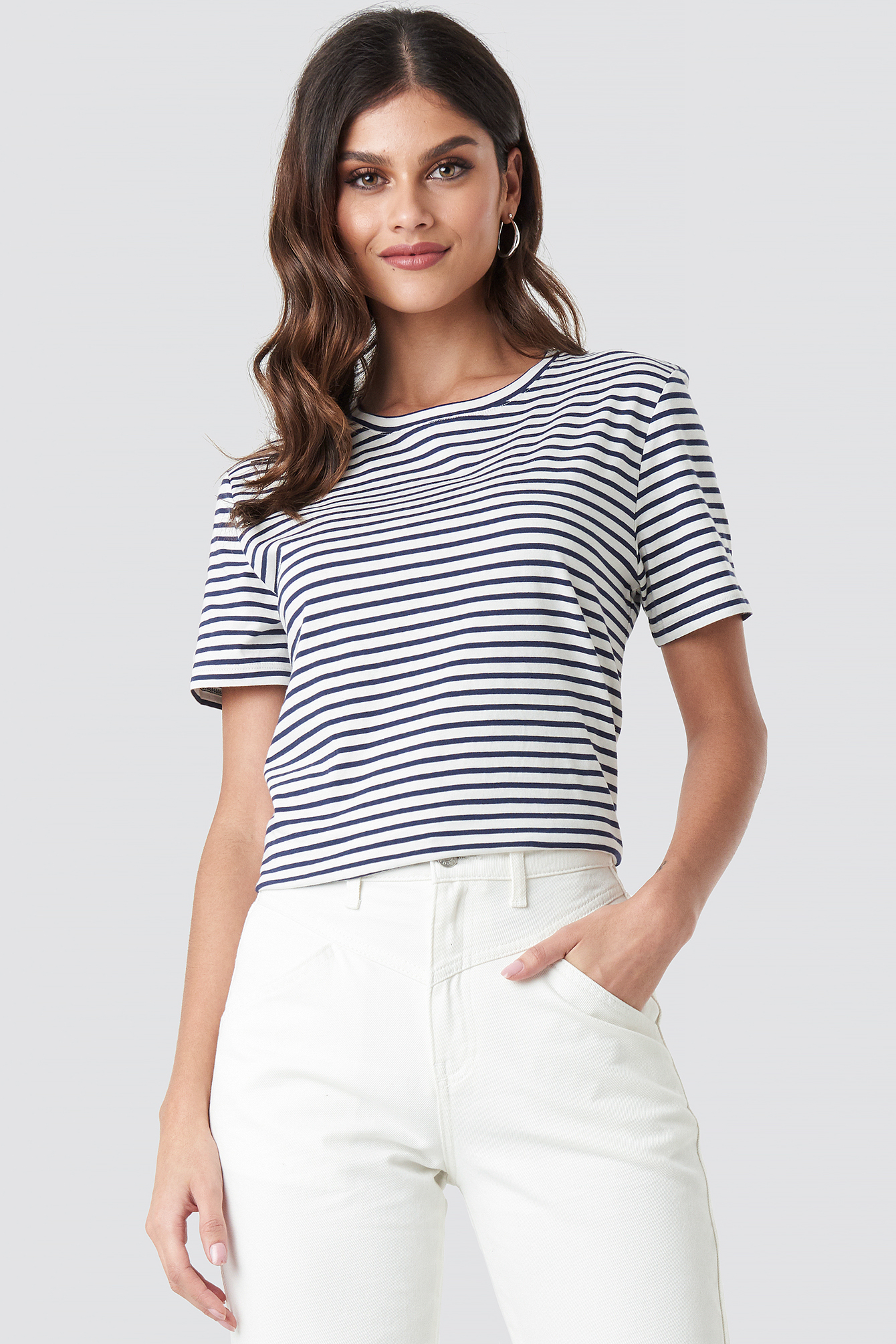 na-kd -  Cotton Striped Round Neck Tee - Blue